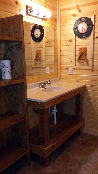Cabin 5 (Redwood) bathroom vanity and sink.