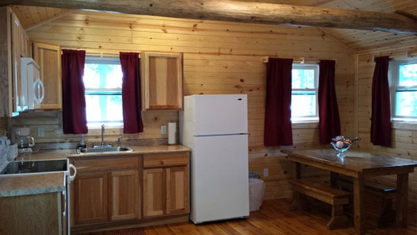Cabin 5 (Redwood) remodelled kitchen full view.