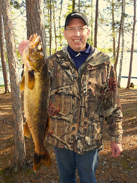 29 inch, 10 pound Walleye caught by Kris Pinkerton on Little Muskie Lake (vertical).