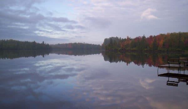 Fall at Peninsula Pines Resort & Campground looking over the lake.