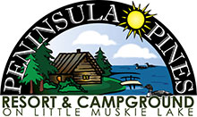 Peninsula Pines Resort & Campground on Little Muskie Lake logo.