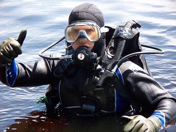 Scuba diving for lost treasure