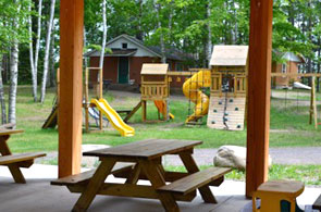 Family pavilion overlooking the playground
