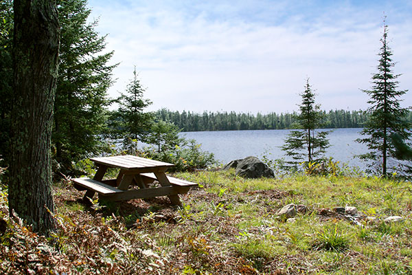 Secluded picnic spot in the northwoods.